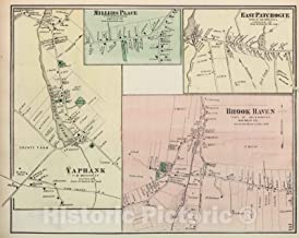 Historic Map - 1873 Millers Place, East Patchogue, Yaphank, Brook Haven, in Brookhaven. Long Island. - Vintage Wall Art - 44in x 35in