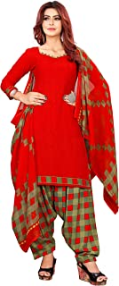 Anny Deziner Red Crepe Printed Salwar suit material (Unstitched)