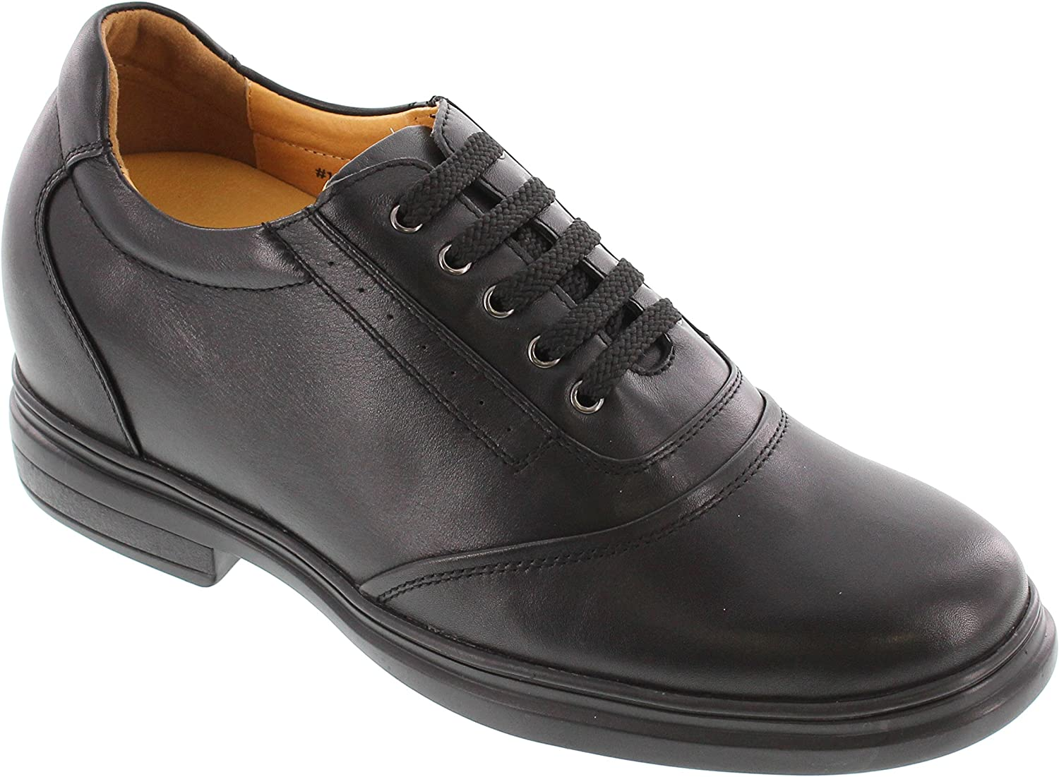 Toto Men's Invisible Height Increasing Elevator shoes - Black Premium Leather Lace-up Casual Oxfords - X2701