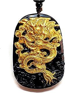 yigedan 18K 999 Pure Yellow Gold Inlay Natural Obsidian Black Jade Pendant Dragon
