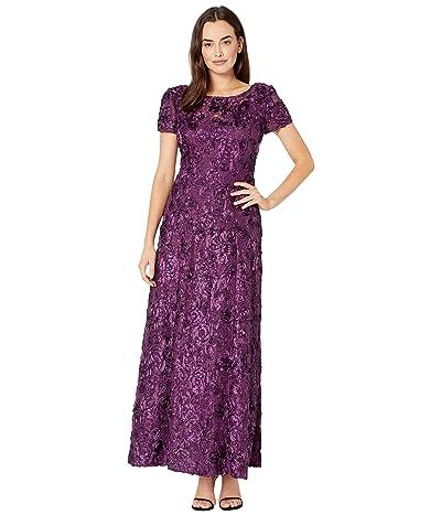 Alex Evenings Long A-Line Rosette Dress with Sequin Detail (Eggplant) Women