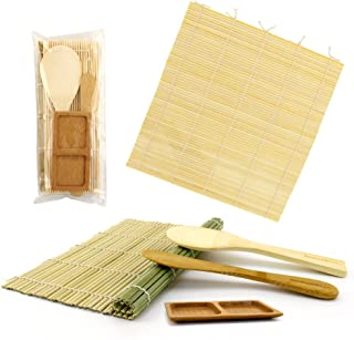 BambooMN Deluxe Sushi Maker Kit 1x Green, 1x Natural Rolling Mats, 1x Rice Paddle, 1x Spreader, 1x Compartment Sauce Dish ...