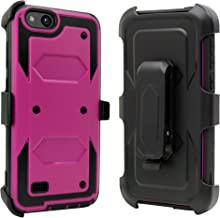 ZTE Blade Vantage Case, ZTE Tempo X Case, ZTE Avid 4 Case, Customerfirst Shockproof Rugged Hybrid Armor Case Cover with Belt Clip Holster & Built-in Screen Protector for ZTE Tempo X N9137 (Purple)