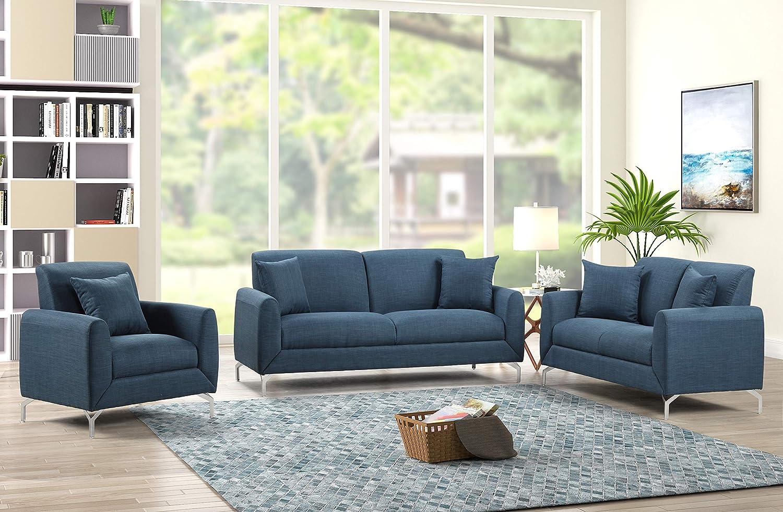 Home Life 2172 3 Piece Sofa Set, Blue