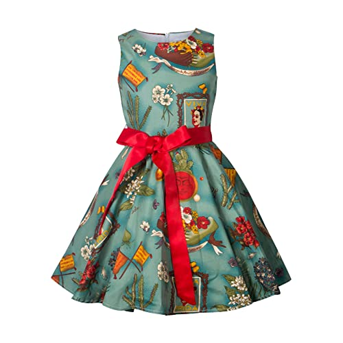 b93bb9d97085 HBBMagic Vintage Girls Cotton Dresses With Belt 1950's Sleeveless Round  Neck Polka Dot Floral Print for