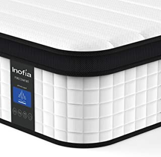 Inofia Full Mattress, 10 Inch Hybrid Innerspring Double Mattress in a Box, Cool Bed with Breathable Soft Knitted Fabric Cover, CertiPUR-US Certified, 100 Risk-Free Nights Trial