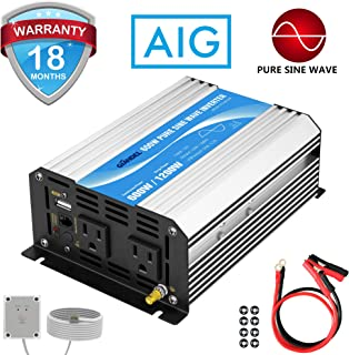 Power Inverter Pure Sine Wave 600Watt 12V DC to 110V 120V with Remote Control Dual AC Outlets and USB Port for CPAP RV Car...