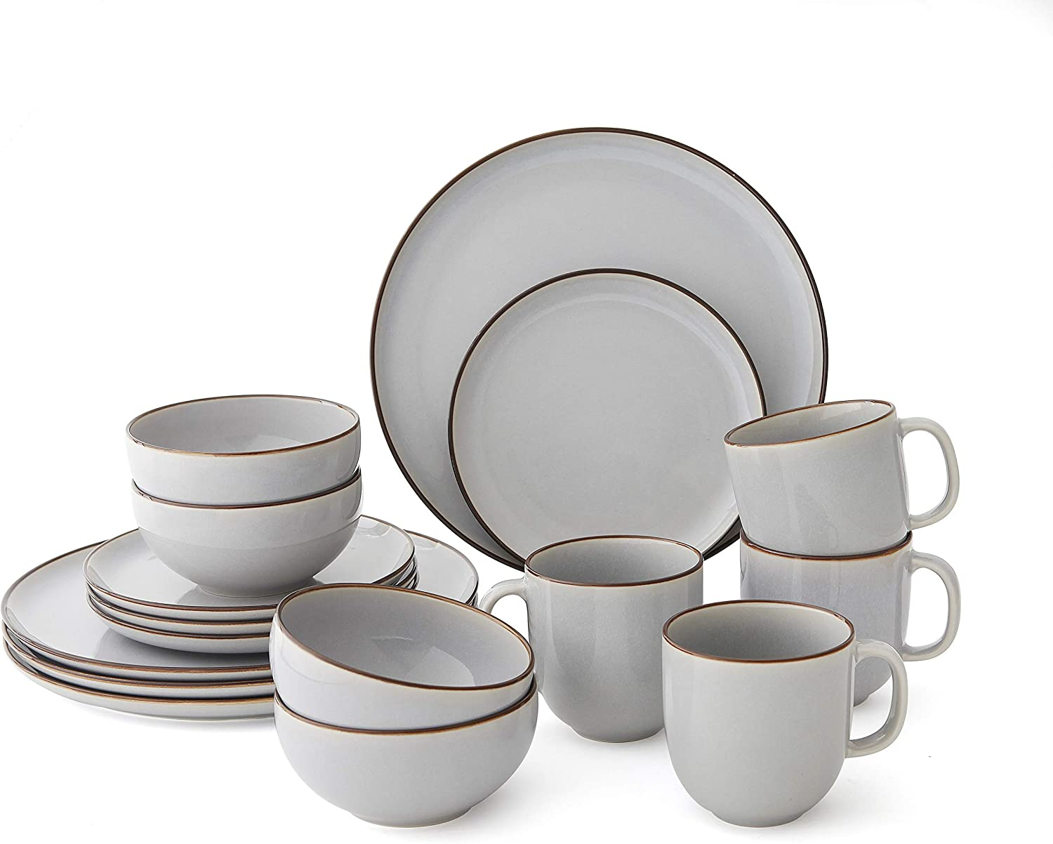 ARTIZEN Color Glazed Fine Stone 16-Piece Dinnerware Set, Service For 4 (GRAY) Gray