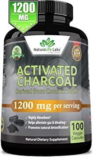 Organic Activated Charcoal Capsules - 1,200 mg Highly Absorbent Helps Alleviate Gas & Bloating Promotes Natural detoxifica...