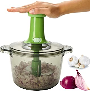 Brieftons Express Food Chopper: Large 8.5-Cup, Quick & Powerful Manual Hand Held Chopper to Chop & Cut Fruits, Vegetables,...