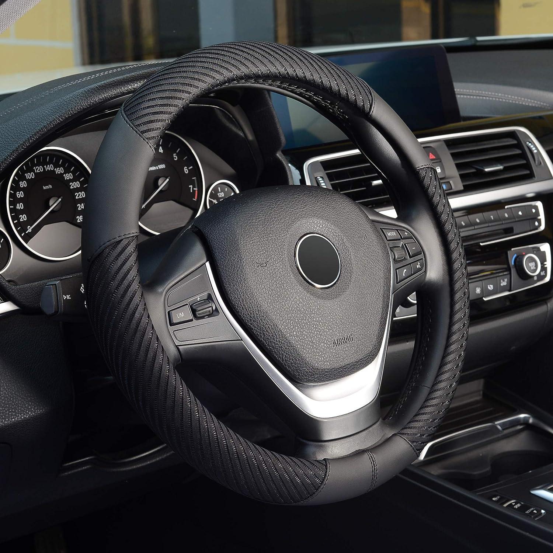 KAFEEK Steering Wheel Cover, Universal 15 inch, Microfiber Leather Ice Silk, Breathable, Black