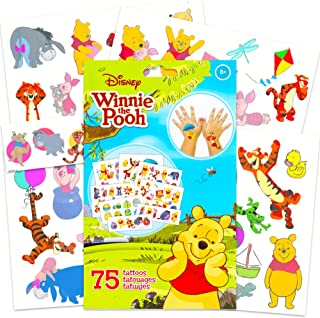 Winnie the Pooh Tattoos Party Favors Set~ 75 Winnie the Pooh Temporary Tattoos (5 Sheets, Pooh Party Supplies)