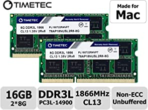 Timetec Hynix IC 16GB KIT(2x8GB) Compatible for Apple Late 2015 iMac 27-inch w/Retina 5K Display DDR3L 1866MHz / 1867MHz PC3L-14900 2Rx8 CL13 1.35V SODIMM Memory Upgrade (16GB KIT(2x8GB))