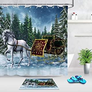 SPXUBZ Bathroom Shower Curtain and Rug Mat Set, Fairy White Horse Golden Sleigh Snow Pine Tree Christmas Winter Holiday Festival Polyester Fabric Curtain with 12 Hooks Gift for Family and Friend
