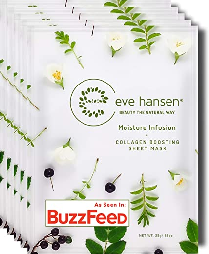 Eve Hansen Collagen Sheet Mask Set   Cruelty Free, Natural Hydrating Face Mask for Wrinkles and Dark Spots   5X Facial Mask Sheet Face Masks