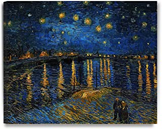 DECORARTS - Starry Night Over The Rhone, Vincent Van Gogh Art Reproduction. Giclee Canvas Prints Wall Art for Home Decor 30x24
