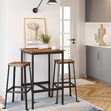 VASAGLE ALINRU Bar Table, Pub Dining Height Table, Steel Frame, Standing Computer Desk, Easy Assembly, for Living Room or Kit