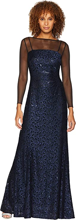 Long Sleeve Sequin Lace Column Gown with Illusion Neckline