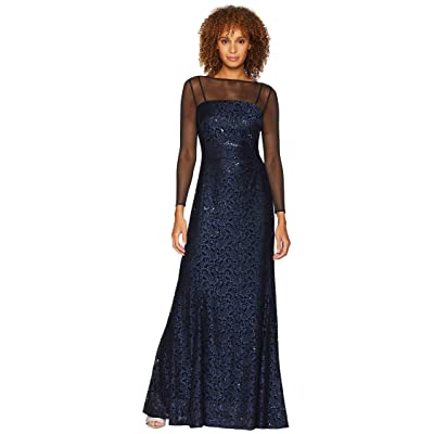 Tahari by ASL Long Sleeve Sequin Lace Column Gown with Illusion Neckline (Black/Navy) Women