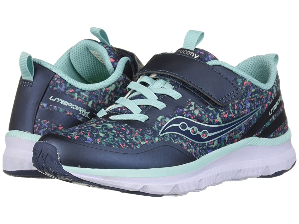 Saucony Kids Liteform Feel A/C (Little Kid) (Navy/Print) Girls Shoes