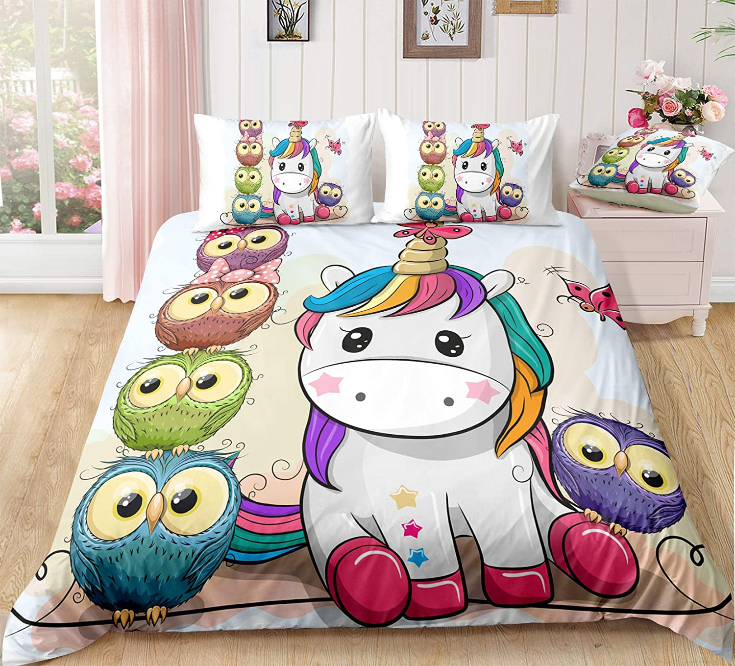 Flamingo Owl, Twin Suncloris Cute Tropical Flamingo Owl Bedding Set 3D Flamingo Insect Owl Meadow Rainbow Quilt Cover Zippered Duvet Cover with Pillow Shams for Kids and Adults