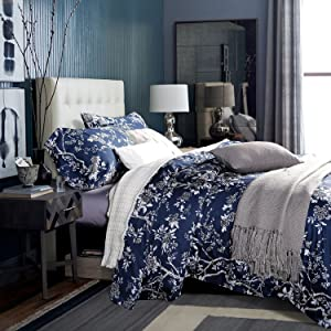 UFO Home 300 Thread Count Percale 100% Cotton Sateen Fabric Exquisite Printing Trees Flowers 4pc Advanced Duvet Cover Set Glossy Dark Blue Color Full/Queen Size
