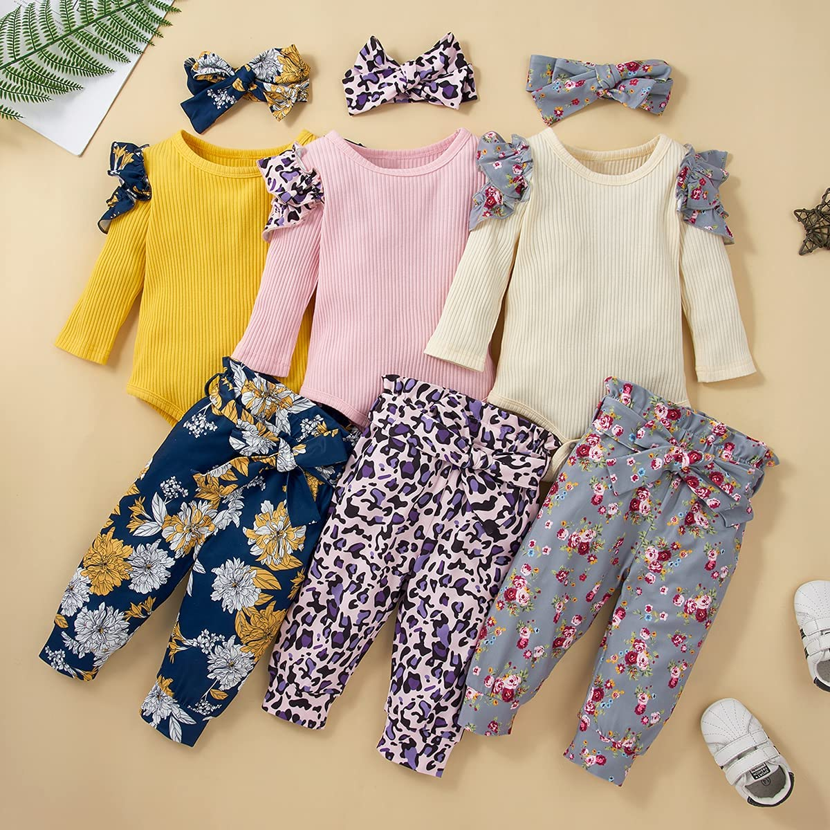 Newborn Baby Girl Clothes Set Ruffle Ribbed Romper Floral Pants Toddler Baby Girl Clothes 3Pcs Outfits Set 0-24 M