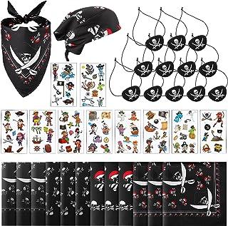 34 Piece Pirate Apparel Accessories Set Include Pirate Bandanna Black Felt Pirate Eye Patches Skull Crossbones and Pirate ...