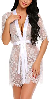 Avidlove Women Kimono Robe Floral Lace Babydoll Lingerie Sheer Mesh Nightgown