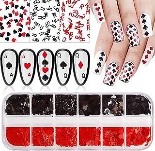 Kalolary 1 Dozen Poker Nail Art Pailletten, Holografische Poker Nagelglitters Pailletten Rood en Zwart Hart Letter Nagelvl...