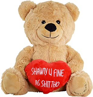 "Hollabears Shawty U Fine 10"" Teddy Bear - Funny Plush Gift for The Girlfriend, Wife, Boyfriend, Husband or Best Friend"