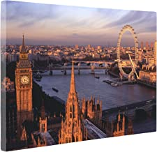 Niwo Art (TM - 18 London Cityscape Picture On Canvas - Giclee Wall Art for Home Decor, Gallery Wrapped, Stretched and Framed Ready to Hang (16