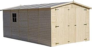 TIMBELA Garage en Bois Naturel - Chalet en Pin/épicéa- H222x516x324 cm/15 m² - Construction de Panneaux- Atelier de Jardin...