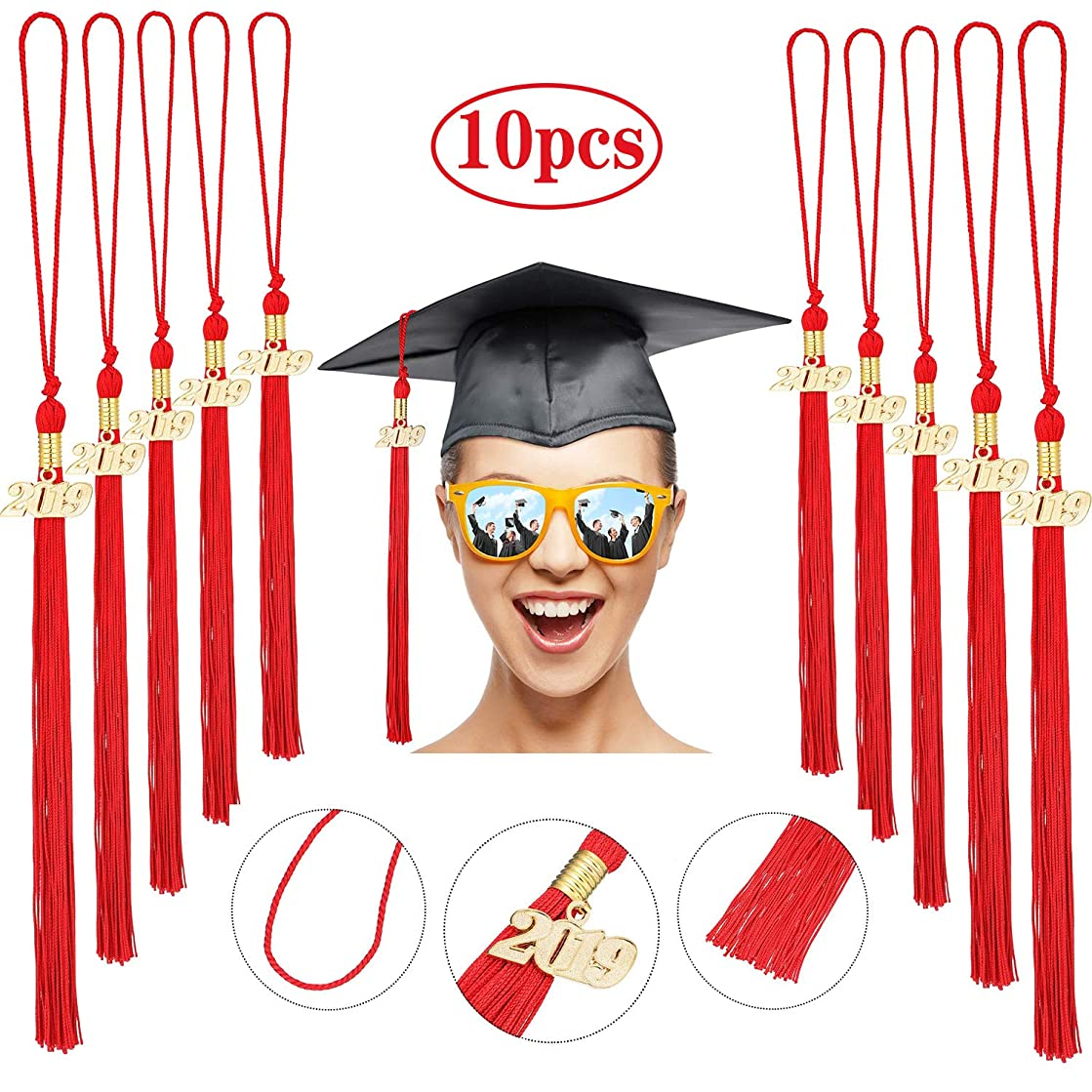 10 Pieces Graduation Tassel Graduation Cap Tassel with 2019 Year Charm for Graduation Parties, 9.4 Inches (Red)