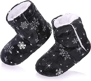 RONGBLUE Kids Girls Boys Christmas Snowflake Slipper Shoes Soft Warm Fleece Lining Non-Slip Winter House Boot Socks 2-7 Year Old