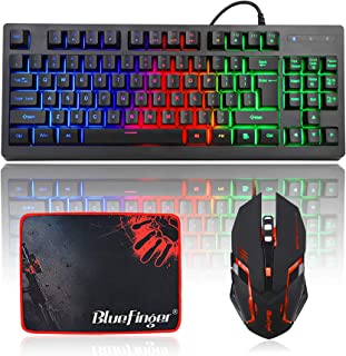 TechGuy4u RGB 87 Keys Gaming Keyboard and Backlit Mouse Combo,BlueFinger USB Wired Rainbow Keyboard,Gaming Keyboard Set fo...