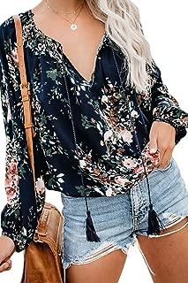 Womens Long Sleeve Floral Tops Boho Print V Neck Blouse Drawstring Shirts