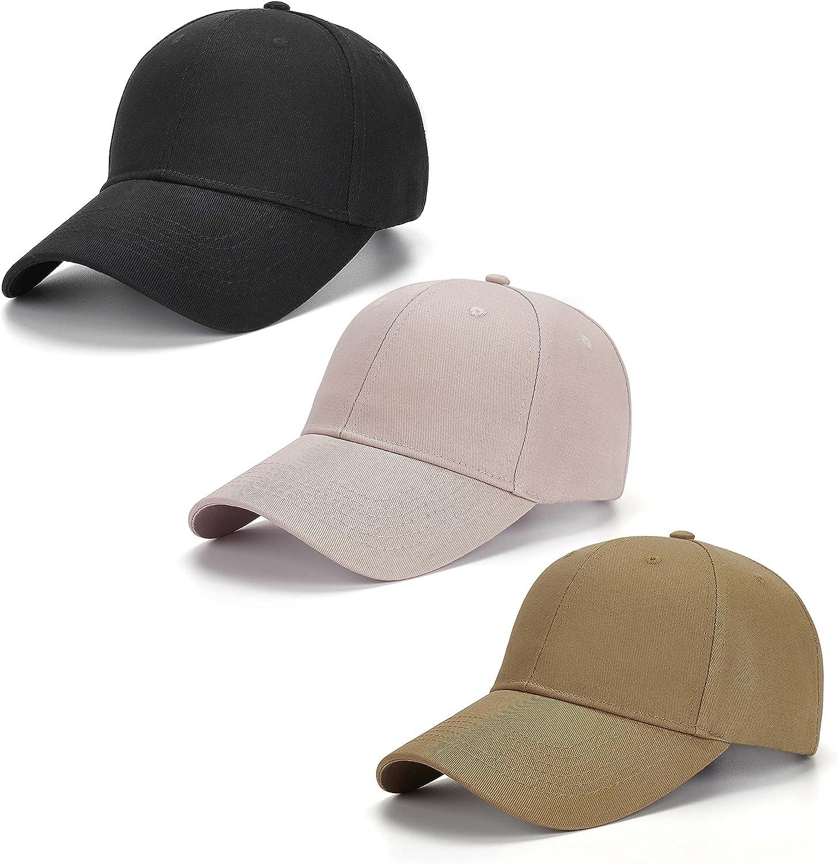 AOSMI 3 Packs Unisex Plain Hat Strapback Same day shipping Cotton Baseball Adjusta Max 66% OFF