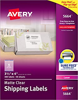 Avery Matte Frosted Clear Address Labels for Laser Printers, 3-1/3