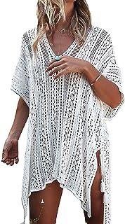 Voqeen Copricostume Donna Mare Abito Spiaggia Bikini Cover Up Camicetta Boemo Costume da Bagno Abito Spiaggia Donna Copricostumi Uncinetto Maglia Nappa Scollato a V Costumi da Bagno Abit Tunica