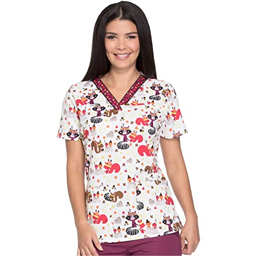 10d4f16c22e Dickies Everyday Scrubs Signature by Women's V-Neck Butterfly Print Scrub  Top