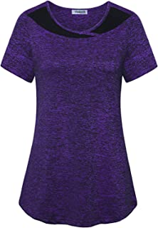 Women's Color Block Yoga Top Dry Fit Activewear Workout Shirt