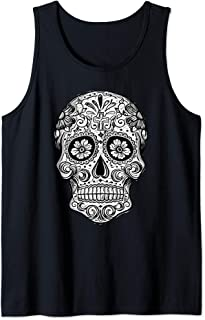 Sugar Skull Picture Black White Image Day Dead Muertos Gift Tank Top