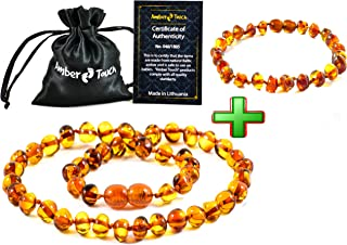 Amber Necklace + Bracelet (Unisex) - Anti inFlammatory, Pain Reduce Properties - Certificated Natural Baltic Amber, Highest Quality (13inch. and 5.5inch.) (Cognac)