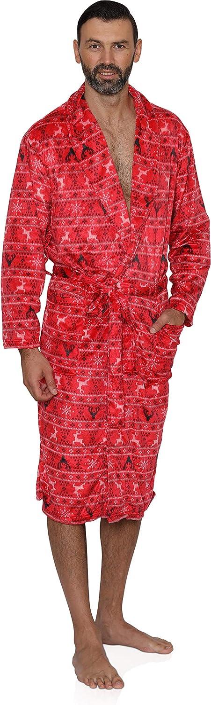 Mens Red Fairisle Holiday Costume Plush Fleece Sleepwear Robe