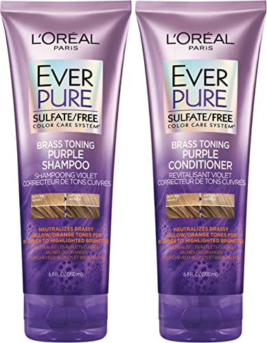 L'Oreal Paris EverPure Brass Toning Purple Shampoo and Conditioner Kit, 6.8 Ounce, Set of 2