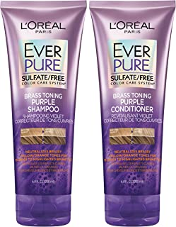L'Oreal Paris EverPure Sulfate Free Brass Toning Purple Shampoo and Conditioner Kit for Blonde, Bleached, Silver, or Brown Highlighted Hair, 1 kit
