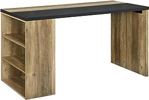 [en.casa] Table de Bureau Moderne Éscritoire Bois et Gris 140 x 68 x 77 cm