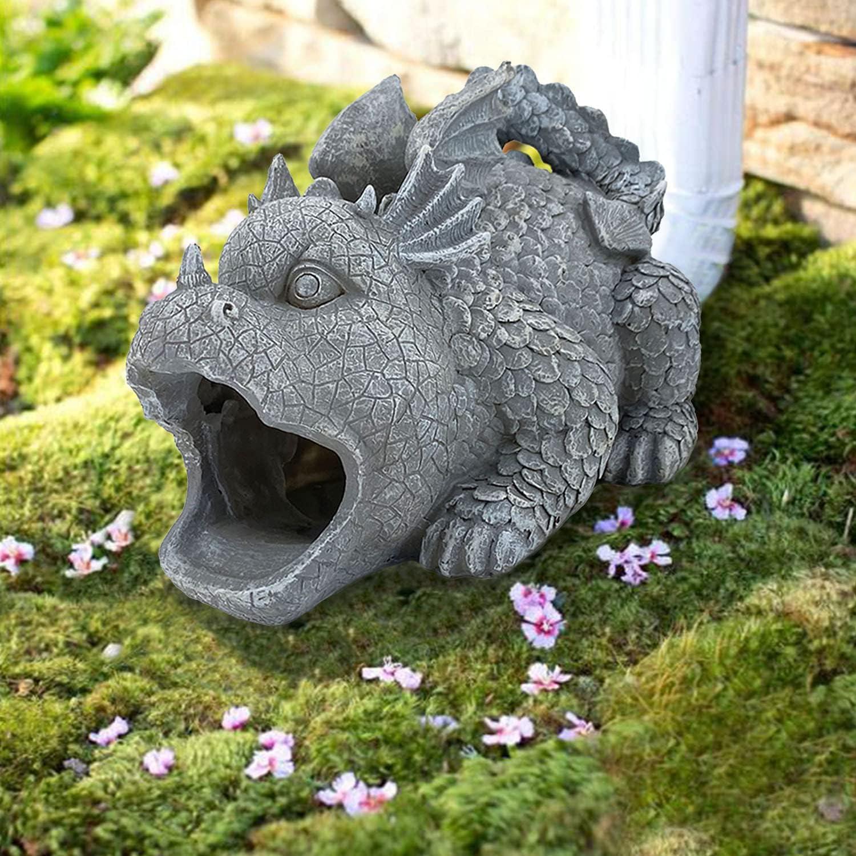 Bownew Gargoyle Gutter Downspout Outdoor Polyresin Rainspout Statue Splash Proof Rain Spout for Lawn, Farm and Patio - 9.5 Inches