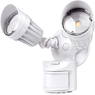 Hyperikon LED White Security Light with Motion Sensor, 20W (100 Watt Replacement), Outdoor Flood Light Dusk to Dawn, 5000K, 2 Head IP65 (Renewed)